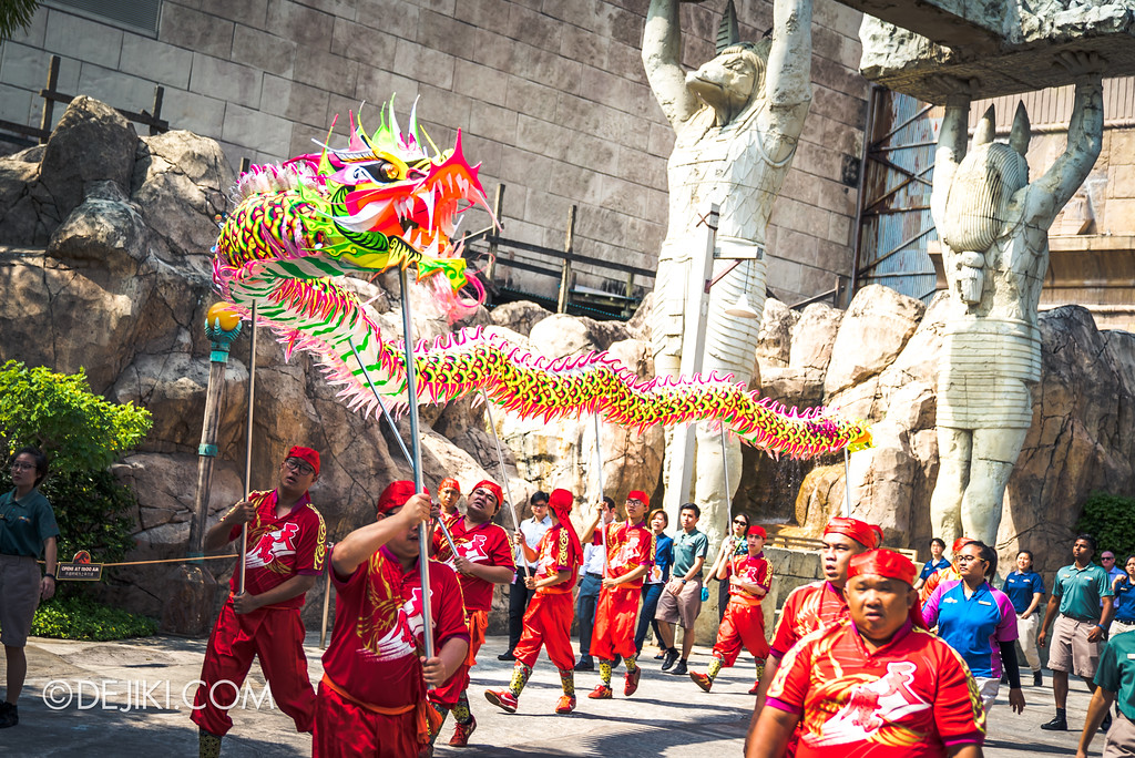 Universal Studios Singapore Park Update February 2018 Chinese New Year - Majestic Dragon Trail / Parading at Egypt