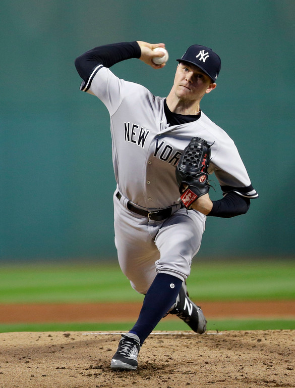 . New York Yankees starting pitcher Sonny Gray delivers in the first inning of Game 1 of a baseball American League Division Series against the Cleveland Indians, Thursday, Oct. 5, 2017, in Cleveland. (AP Photo/Tony Dejak)