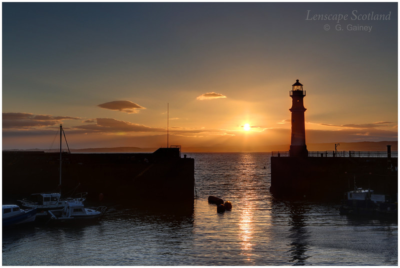 Newhaven harbour midsummer sunset, Edinburgh
