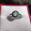 1.30ctw Old European Cut Diamond Emerald Target Ring 16