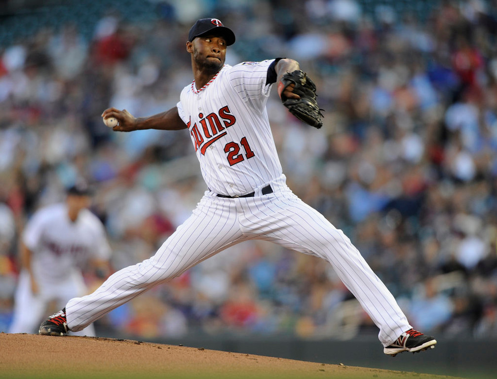 . Samuel Deduno of the Minnesota Twins delivers a pitch against the Cleveland Indians during the first inning. (Photo by Hannah Foslien/Getty Images)