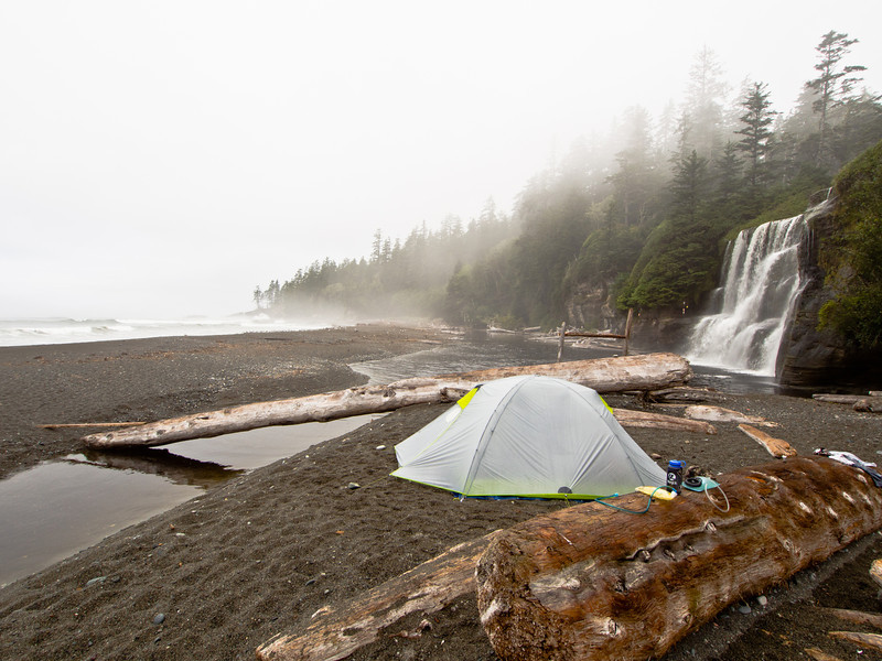 Camping at Tsusiat falls - West Coast Trail