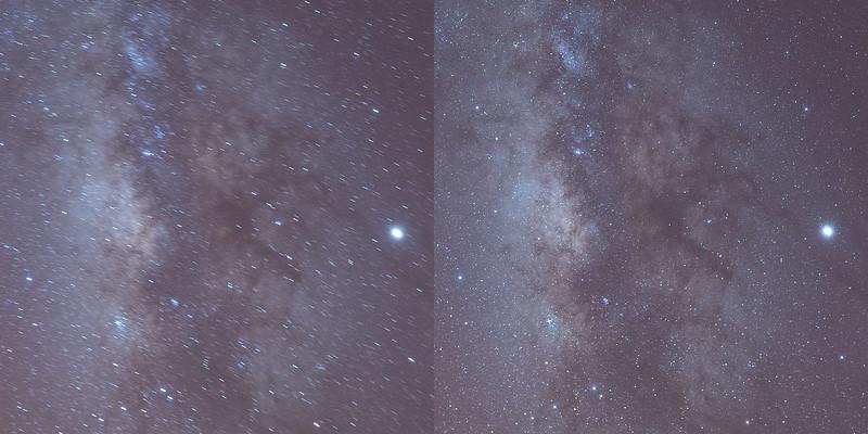 Comparativa al 100%. A la izquierda sin tracker, a la derecha usando el Move Shoot Move Rotator.