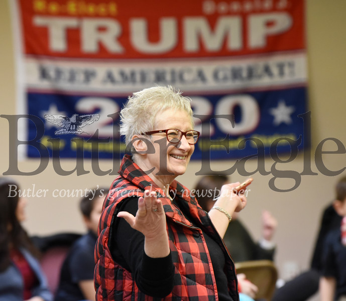 Harold Aughton/Butler Eagle: Mary Kaye Soriano, president of the Repbulican Women Butler County, discuess the 2020 presidential election Saturday, January 18, 2020.