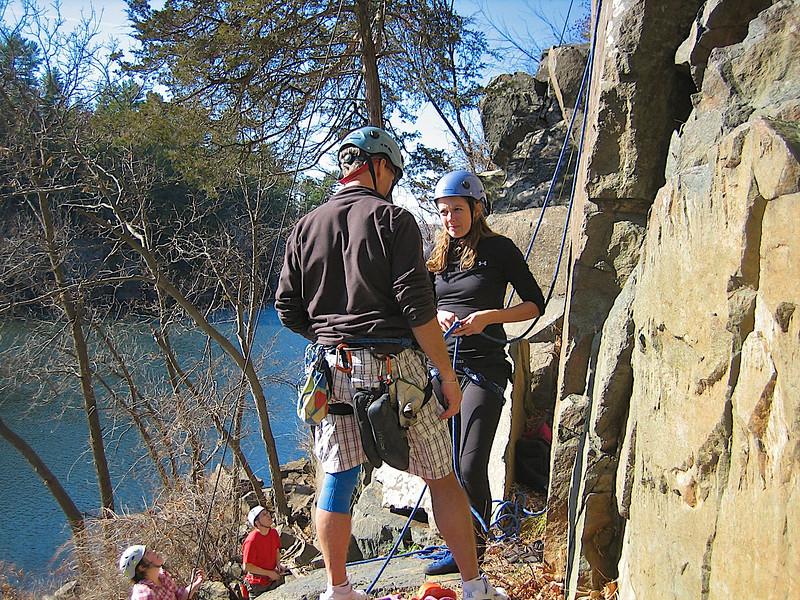 Jim helping Sara on her first ever climb.