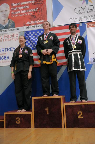 Nishant medals at the 2016 WKSA Pacific Tournament, Folsom, CA.  April 16, 2016.