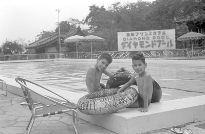 Ronald and Emile at the hotel pool, Tokyo 1965