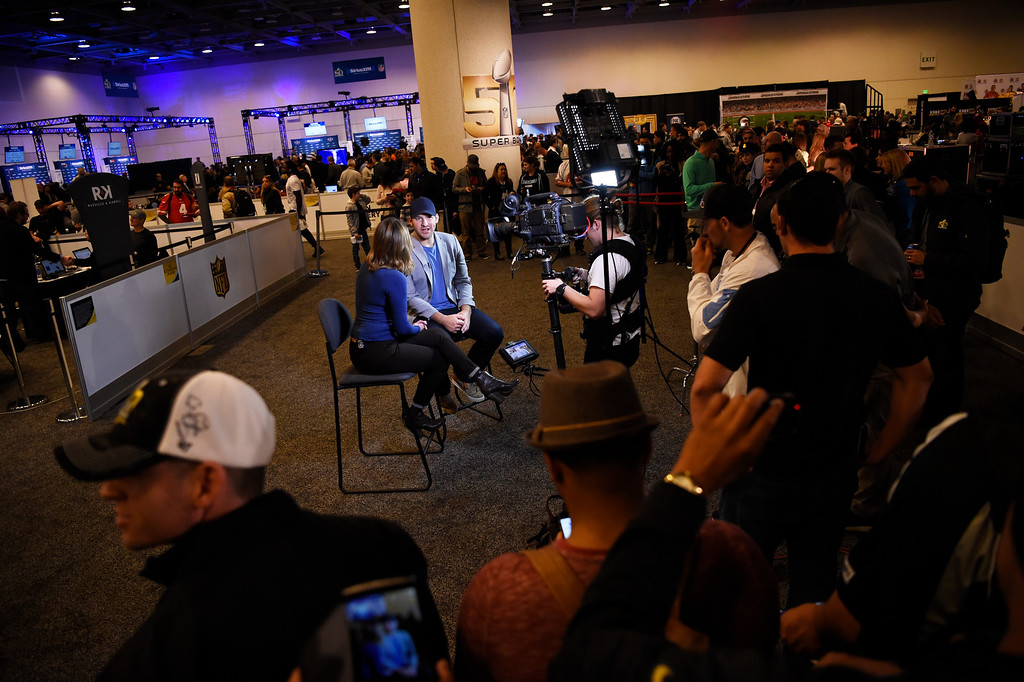 . SAN FRANCISCO, CA - FEBRUARY 05: Tony Romo, Dallas Cowboys quarterback #9 being interviewed on Radio Row in the Moscone Center in downtown San Francisco, CA. February 05, 2016 (Photo by Joe Amon/The Denver Post)