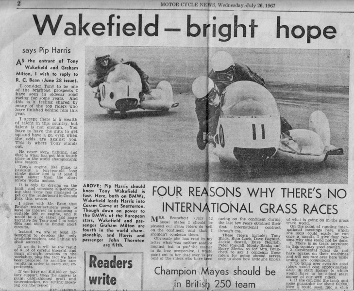Newspaper article provided by A.J. Wakefield