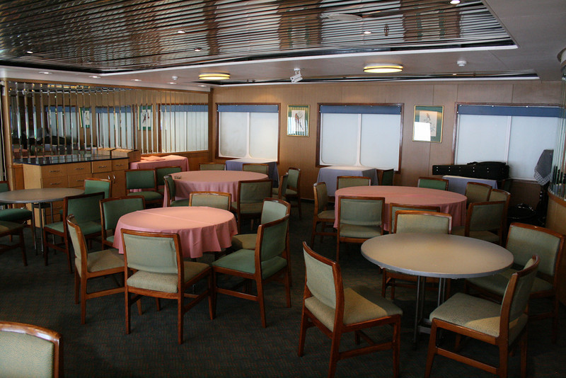 On board T/S FUNCHAL : Coimbra restaurant, Azores deck.