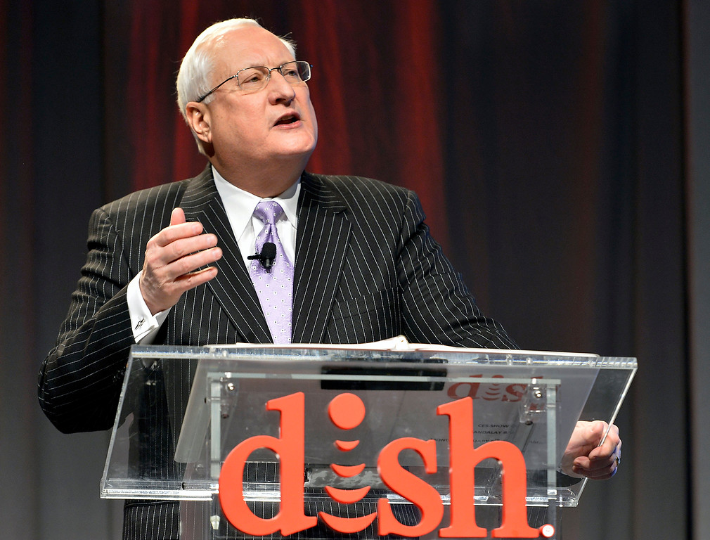 . Dish president and CEO Joe Clayton talks to the media during the Dish news conference at the International Consumer Electronics Show Monday, Jan. 6, 2014, in Las Vegas. (AP Photo/Jack Dempsey)