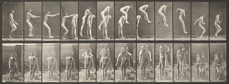 Nude man jumping over a man's back (Animal Locomotion, 1887, plate 166)