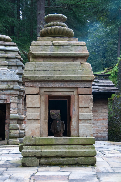 Lord Shiva idol. Dandeshwar temple, Binsar, Uttarakhand. Dandeshwar temple comprises a cluster of 14 large and small temples dating to 9th & 10th Century A.D. built by the Katyuri rulers and visited on the way to Jageshwar Dham.