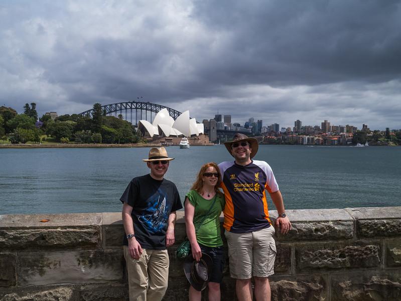 Jonty, Jonti and Kris in front of the Sydney Opera House