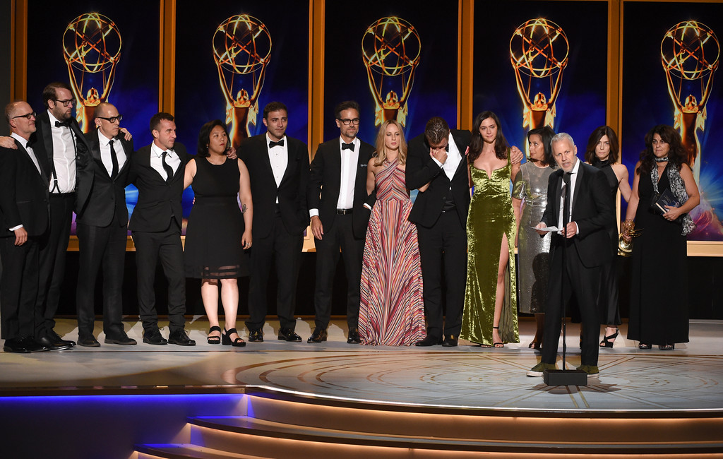 ". Christopher Collins and the team from ""Anthony Bourdain: Parts Unknown\"" accept the award for outstanding informational series or special during night two of the Television Academy\'s 2018 Creative Arts Emmy Awards at the Microsoft Theater on Sunday, Sept. 9, 2018, in Los Angeles. (Photo by Phil McCarten/Invision/AP)"