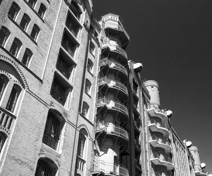 Speicherstadt Hamburg in schwarz-weiß