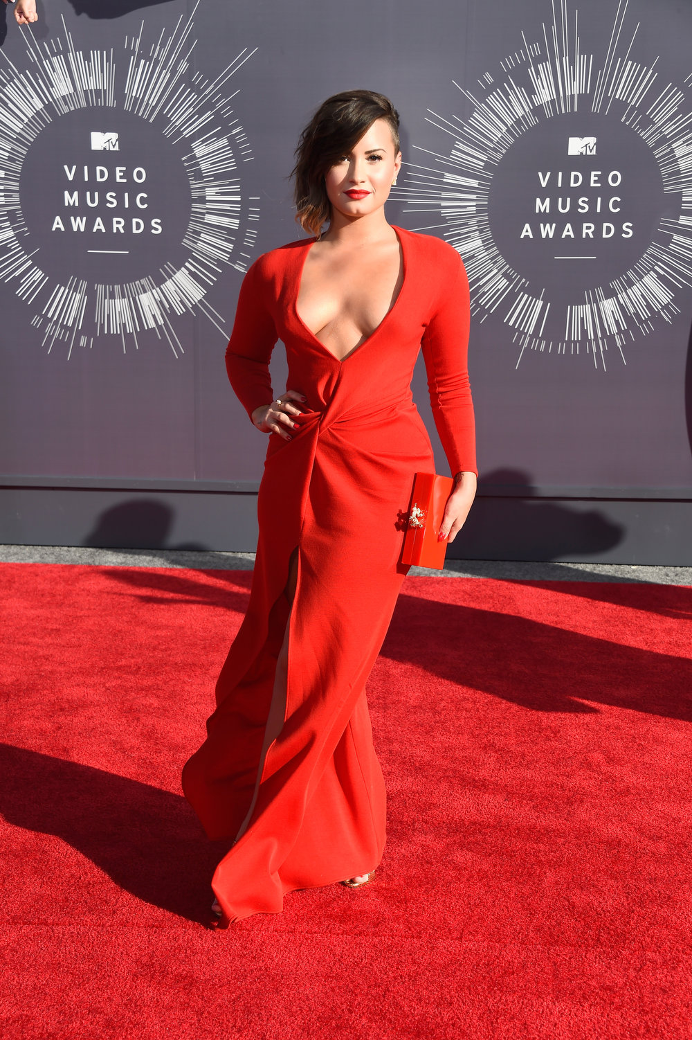 . Recording artist Demi Lovato attends the 2014 MTV Video Music Awards at The Forum on August 24, 2014 in Inglewood, California.  (Photo by Frazer Harrison/Getty Images)