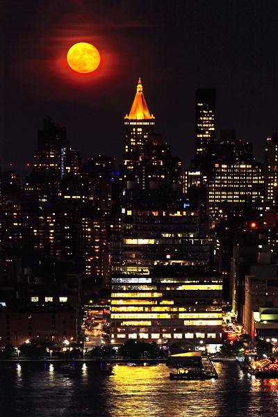 Full Moon City Scene NYC