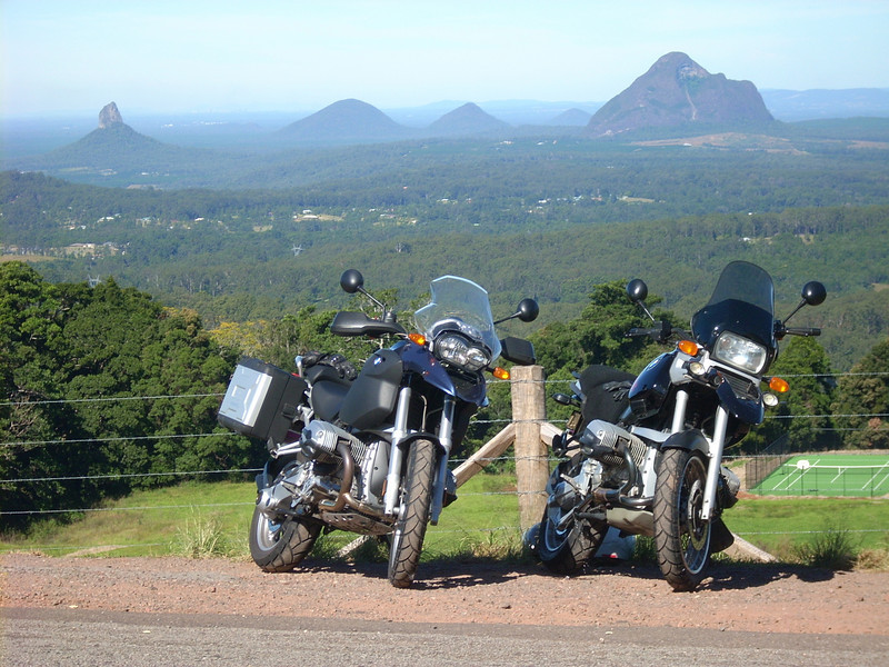 Picture of our bikes at Mary Cairncross looking towards the Glasshouse Mountains, near Maleny in South East Queensland, Australia. Alastair M