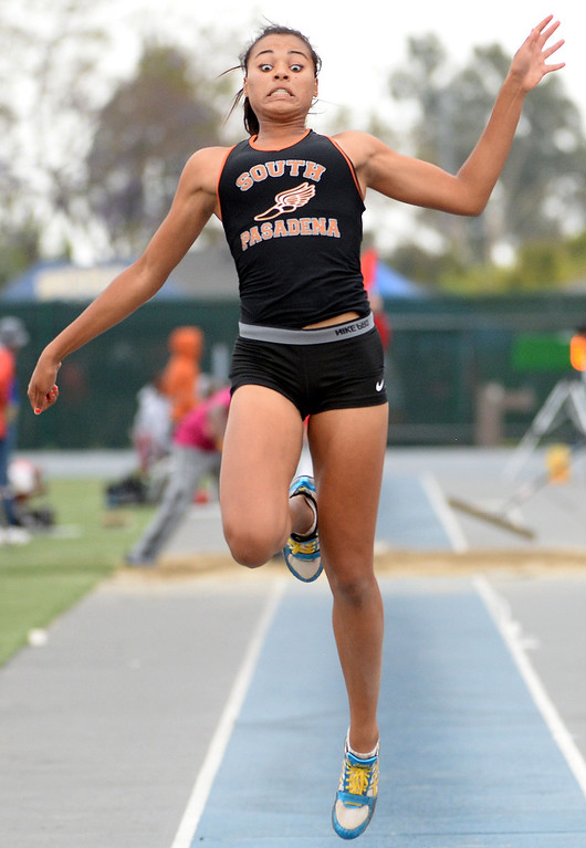 . South Pasadena\'s Jazmin Jackmon competes in the Division 3 long jump during the CIF Southern Section track and final Championships at Cerritos College in Norwalk, Calif., on Saturday, May 24, 2014.   (Keith Birmingham/Pasadena Star-News)