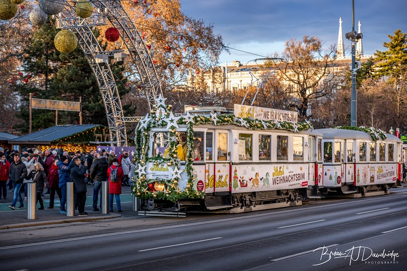 Christmas Tram at a Christmas Market in Vienna