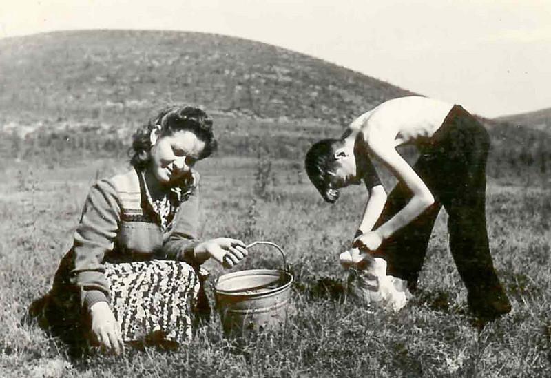 Роза с младшим сыном собирает голубицу в окрестностях Промкомбината.
