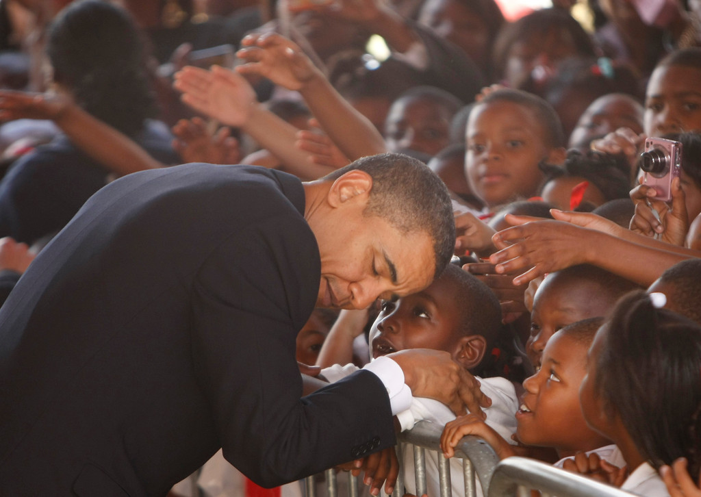 . President Barack Obama visits the Dr. Martin Luther King Charter School  in the Lower 9th Ward of New Orleans, La., Thursday, Oct. 15, 2009. (AP Photo/Gerald Herbert)