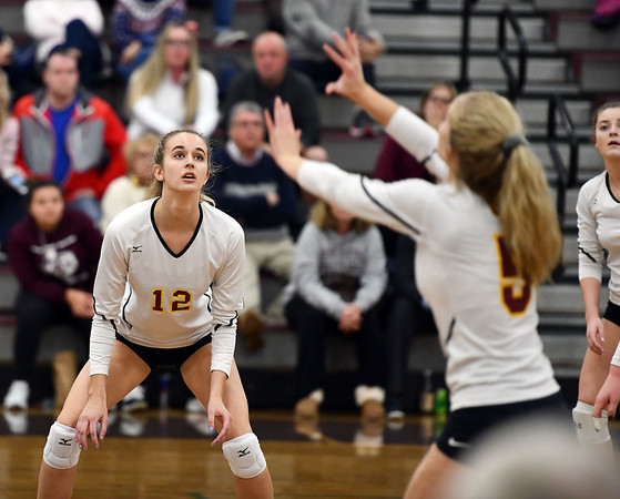 11/14/2019 Mike Orazzi | StaffrSt. Joseph High School's Ava Tuccio (12) during the Class L Second Round Girls Volleyball Tournament at Bristol Central Thursday night. r
