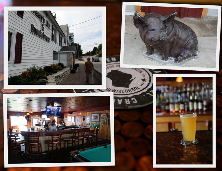 """Inside & Outside of Casey's BBQ & Smokehouse - quiet after lunch on this post-Labor Day afternoon.  The crowds have left to return to the """"real world"""" while we savor the quiet of the Door County Peninsula."""