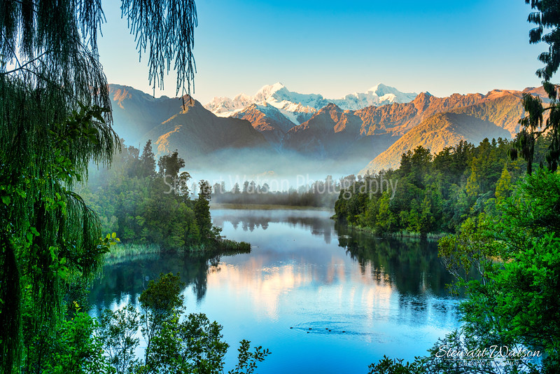 Lake Matheson in the early morning fog
