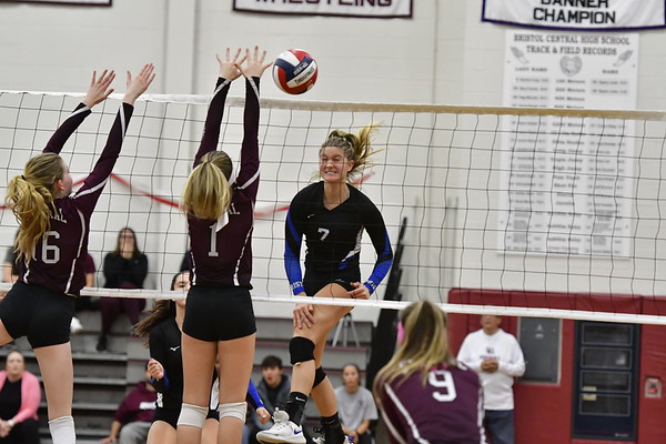 10/30/2019 Mike Orazzi | StaffnBristol Central's Kayla St. Onge (16) and Jadyn Bauer (1) and Bristol Eastern's Zoe Lowe (7) during Wednesday night's volleyball match at Bristol Central.