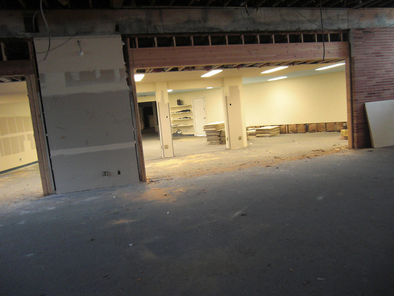 Future retail parts room with raised doorway.