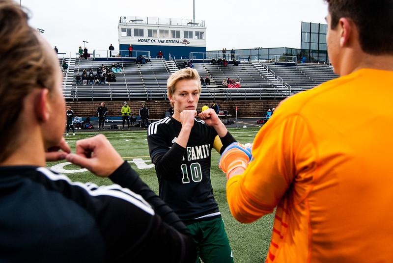 Holy Family Varsity Soccer vs. Monticello Oct 11, 2018: Luke Puklich '19 (10)