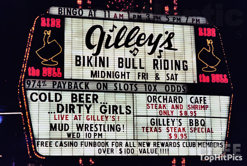 """The Frontier Hotel """"Bikini Bull Riding"""" And """"Cold Beer...Dirty Girls"""" Sign, Las Vegas"""