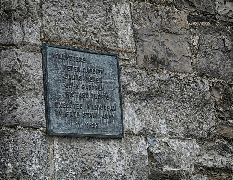 Plaque commemorating four men executed at the prison during the Irish Civil War, 1922