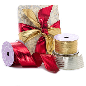Metallic Striped Wired Ribbon