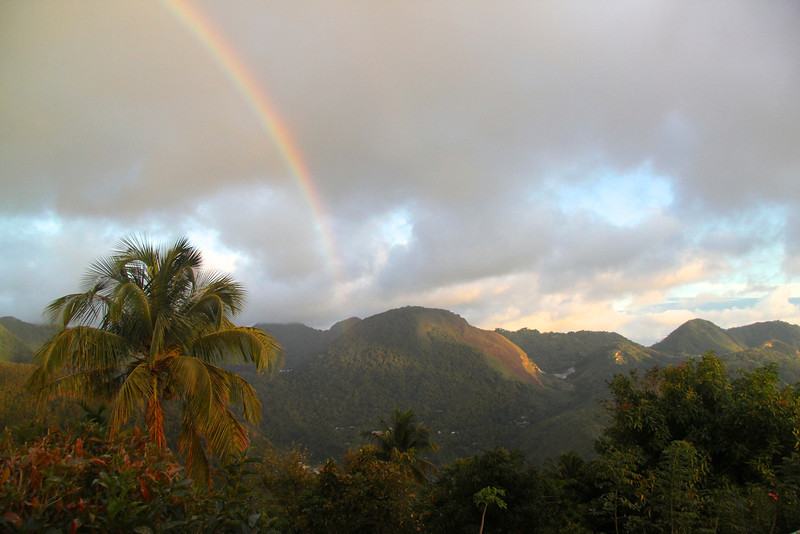 Rainbow over the lush landscape of St. Lucia