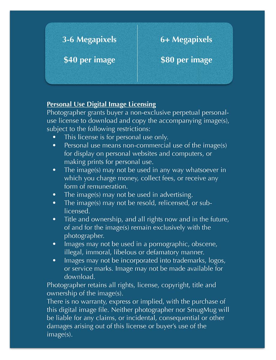 Personal Use Digital Image Licensing