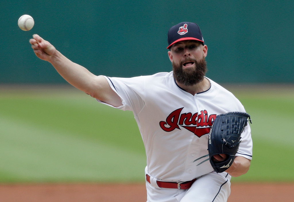 . Cleveland Indians starting pitcher Corey Kluber delivers in the first inning of a baseball game against the Chicago White Sox, Wednesday, May 30, 2018, in Cleveland. (AP Photo/Tony Dejak)