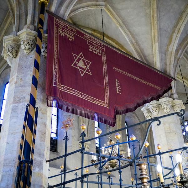 Star of David banner in a synagogue, Prague, Czech Republic