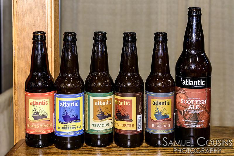 Six different Atlantic Brewing beer bottles.