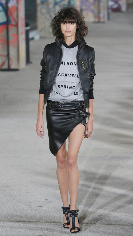 . A model wears a creation for Antony Vaccarello\'s Spring/Summer 2015 ready-to-wear fashion collection, presented in Paris, Tuesday, Sept. 23, 2014. (AP Photo/Jacques Brinon)