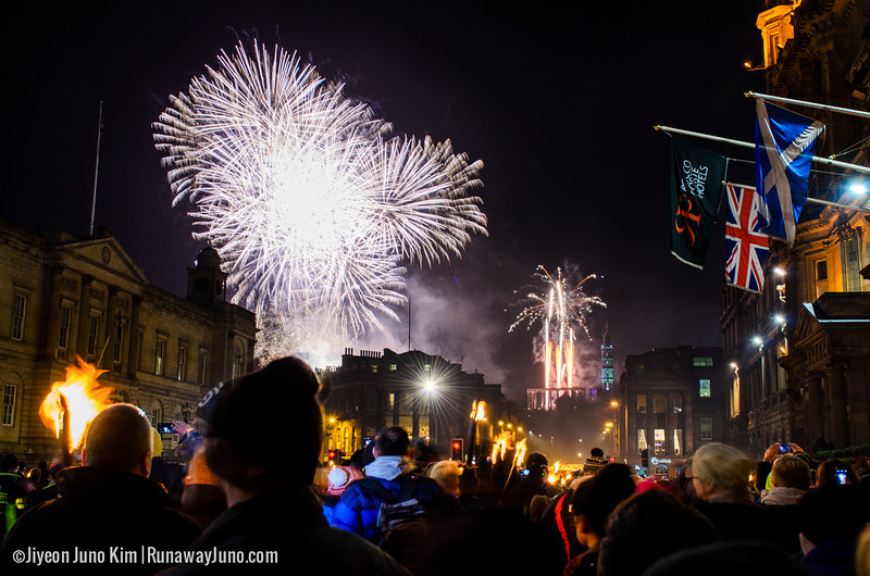 grand finale at Edinburgh's Hogmanay Torchlight Procession 2014/15
