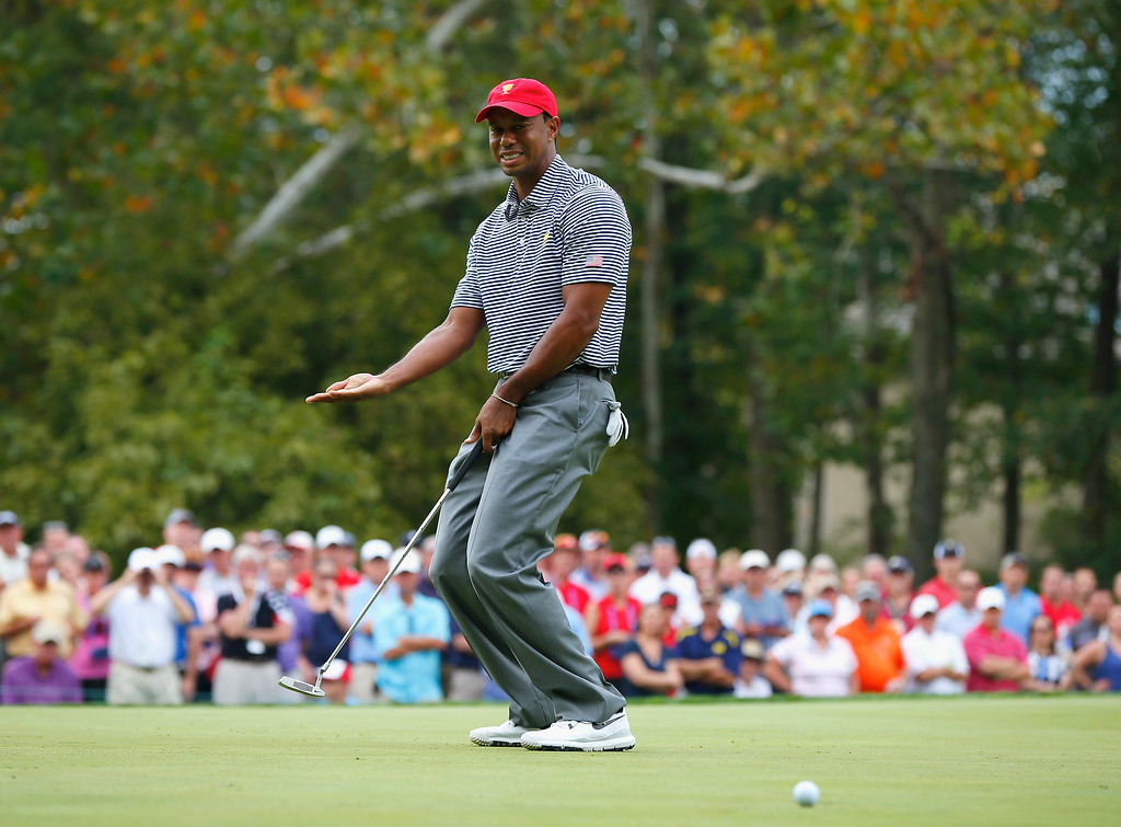 . DUBLIN, OH - OCTOBER 04:  Tiger Woods of the U.S. Team reacts to a missed putt on the second hole during the Day Two Foursome Matches at the Muirfield Village Golf Club on October 4, 2013  in Dublin, Ohio.  (Photo by Matt Sullivan/Getty Images)