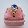 1.75ctw Cab Sapphire and Old European Cut Diamond 3-stone Ring 38