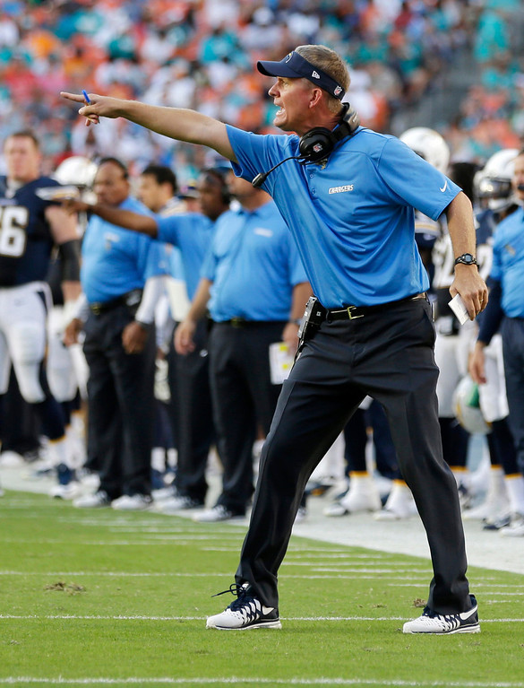 . San Diego Chargers head coach Mike McCoy gestures during the first half of an NFL football game against the Miami Dolphins, Sunday, Nov. 17, 2013, in Miami Gardens, Fla. (AP Photo/Lynne Sladky)
