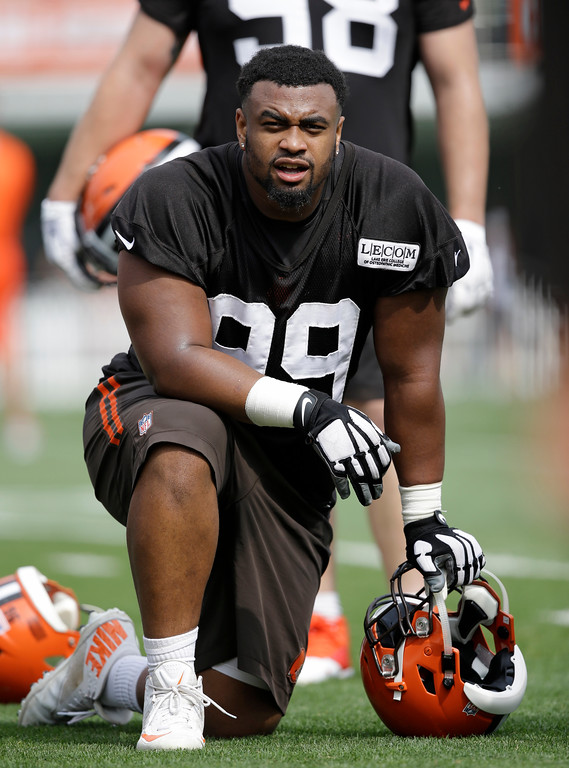 . Cleveland Browns defensive tackle Caleb Brantley watches during practice at the NFL football team\'s training camp facility, Thursday, July 27, 2017, in Berea, Ohio. (AP Photo/Tony Dejak)