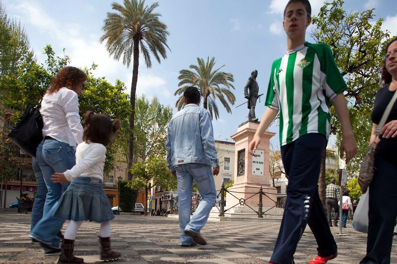 People walking on Gavidia Street, Seville, Spain