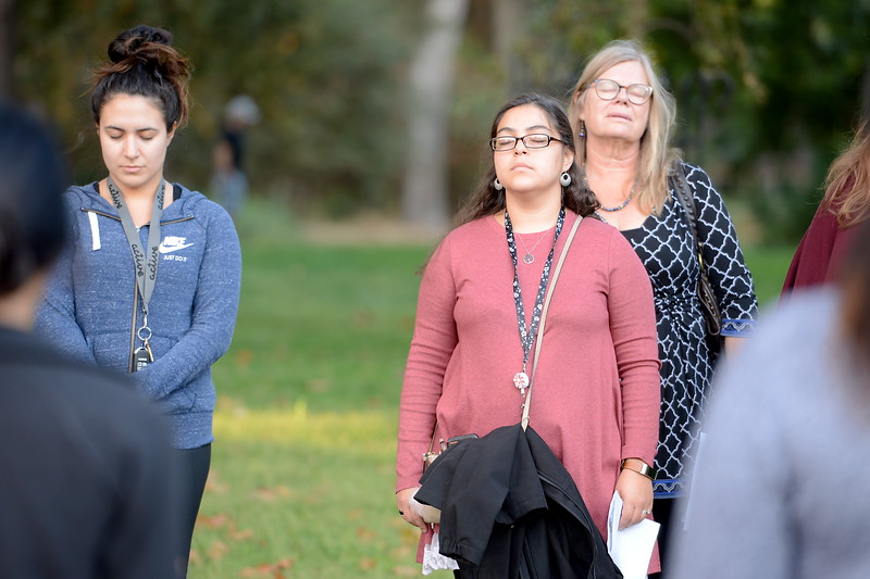 """during the """"Flowers on the Creek"""" Domestic violence victims remembrance at the One Mile Recreation Area of Bidwell Park in Chico, Calif. Thursday, Oct. 4, 2018.   (Bill Husa -- Enterprise-Record)"""