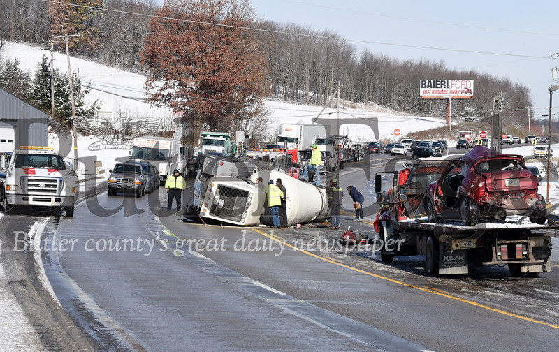 Harold Aughton/Butler Eagle: A three vehicle crash occurred on Rt. 19 near Lutz Road in Jackson Twp. Wed., Nov. 13, 2019.